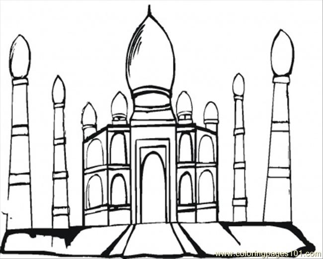650x521 Taj Mahal In The Evening Coloring Page