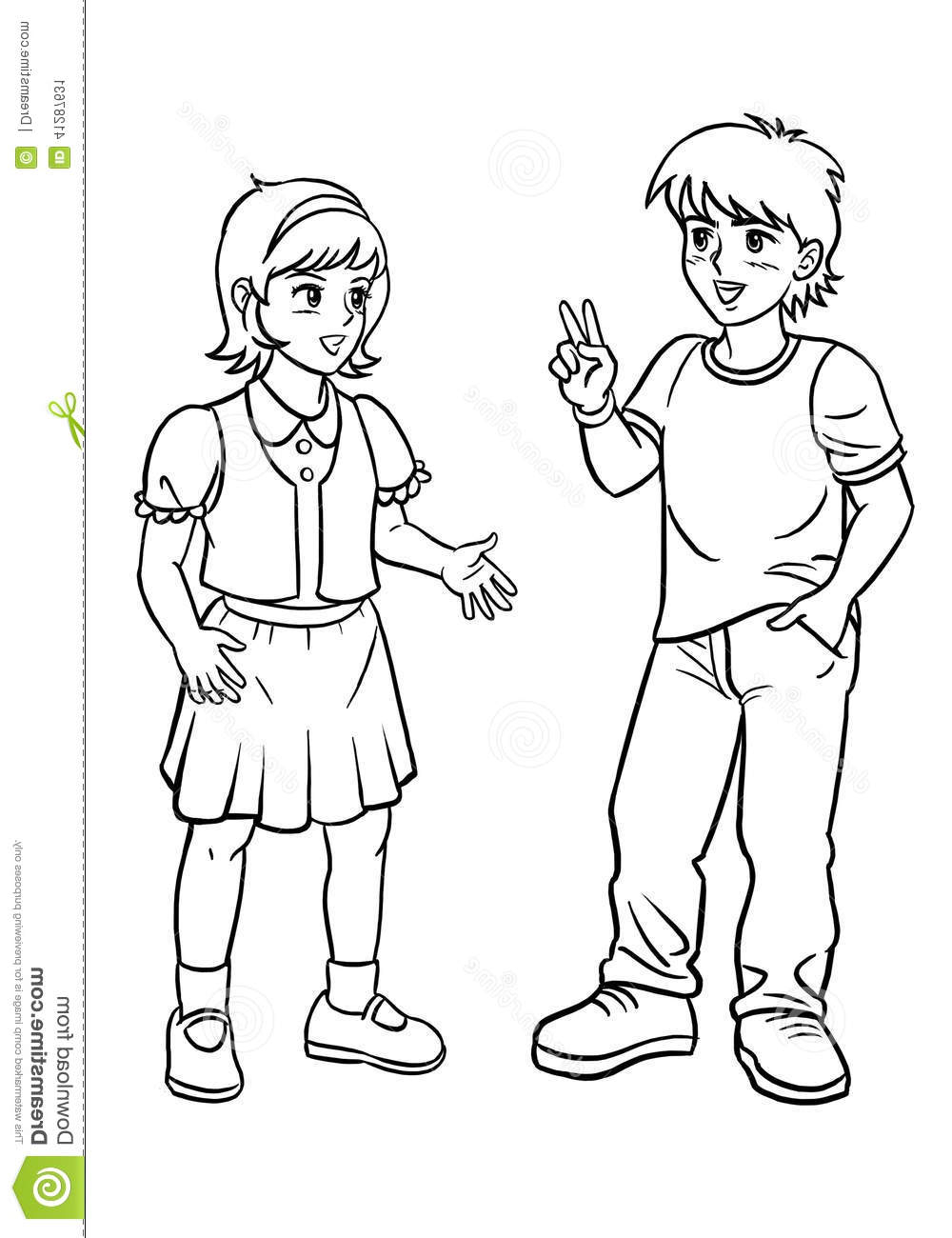 1000x1300 Drawing Picture Of Boys And Girl Boy And Girl Talking Stock Photo