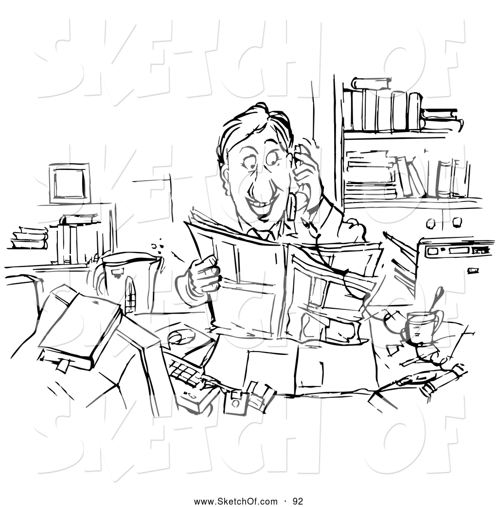 1024x1044 Drawing Of A Coloring Page Of A Happy Businessman Reading
