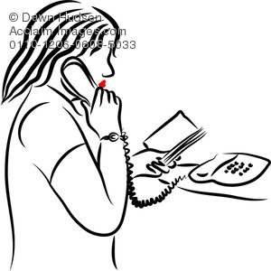 300x300 Line Drawing Of A Portrait Of A Woman Talking On The Telephone