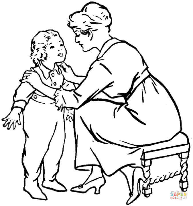 674x720 Mother Is Talking To A Child Coloring Page Free Printable