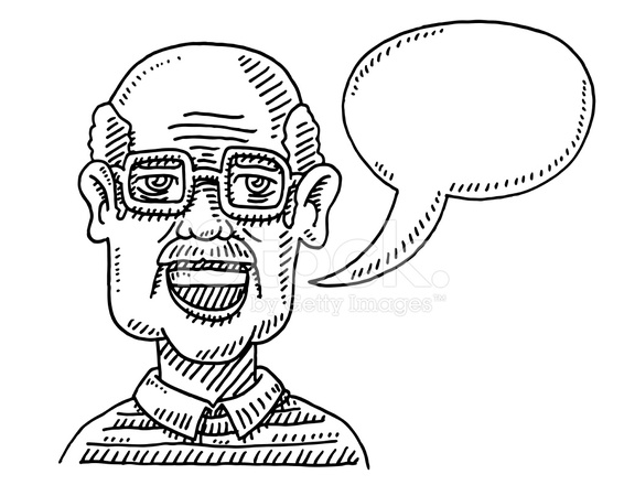 566x440 Old Man Talking Speech Bubble Drawing Stock Vector