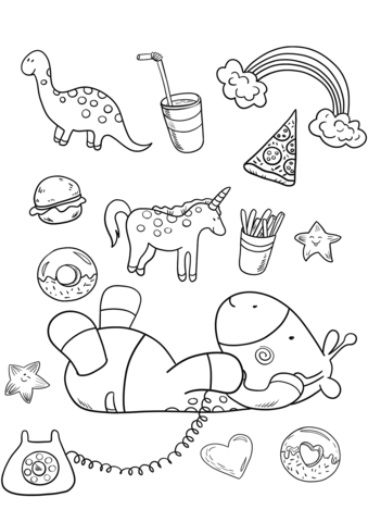 339x480 Baby Giraffe Is Talking On The Phone Coloring Page Free