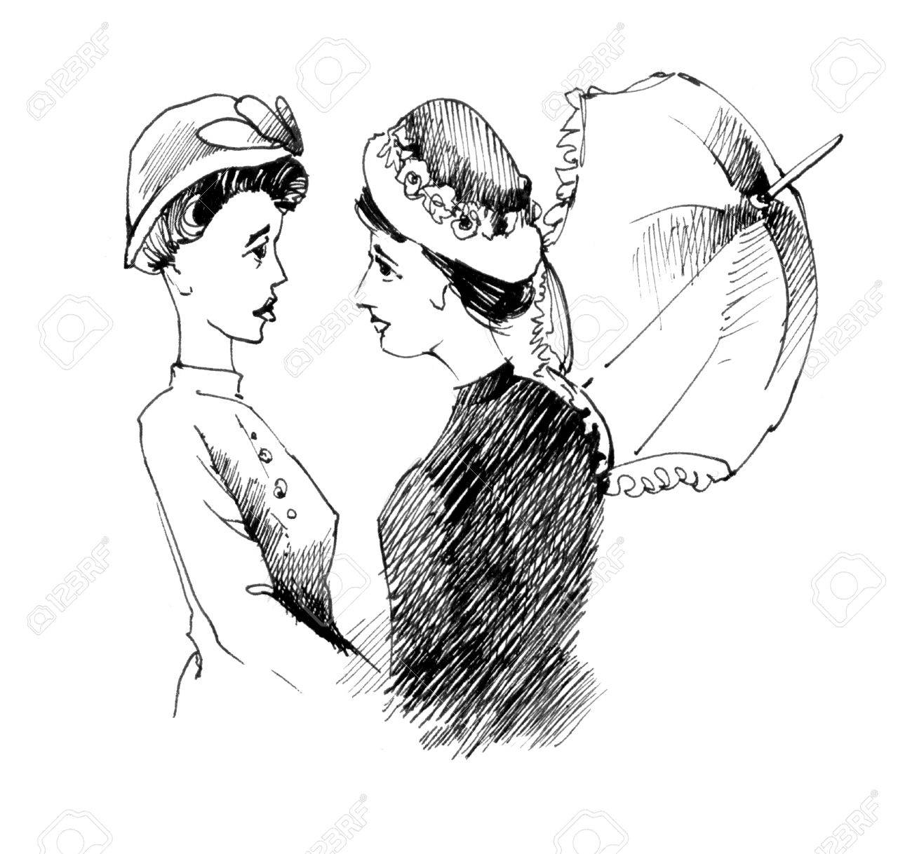 1300x1218 Vintage Drawing Illustration Of Two Women Talking Stock Photo