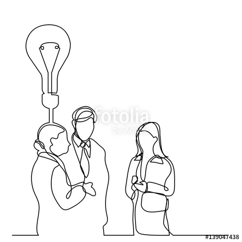 500x500 Continuous Line Drawing Of Business People Talking About Idea