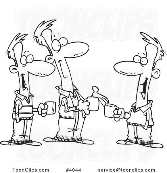 581x600 Cartoon Black And White Line Drawing Of Three Brothers Talking