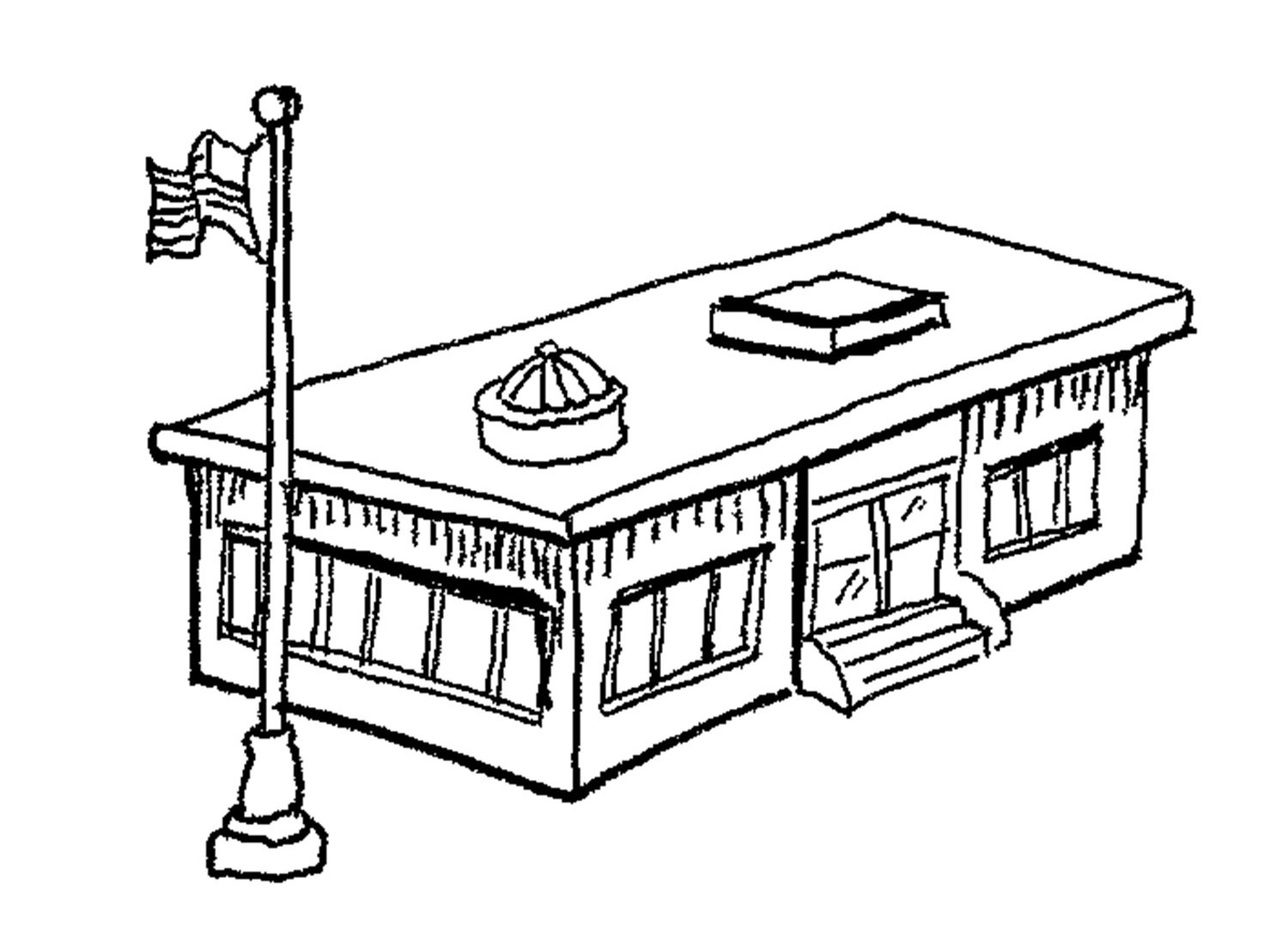 1500x1086 School Building Clipart Black And White