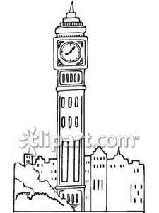 225x300 Tall Clock Tower Among Other Buildings Royalty Free Clipart Picture