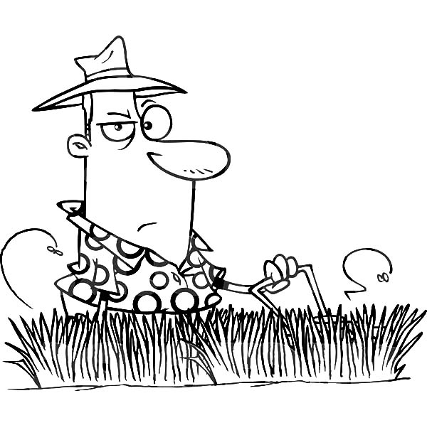 600x612 Man Mowing Tall Grass Coloring Pages Color Luna