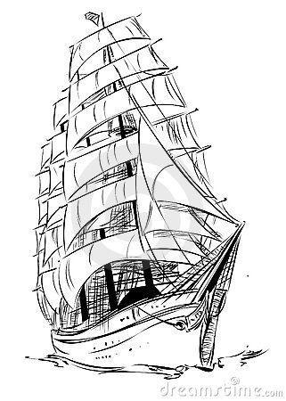 Tall Ship Drawing