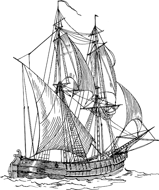 536x640 Old Ship Line Drawing Old Water Outline Sailing Ancient Ships