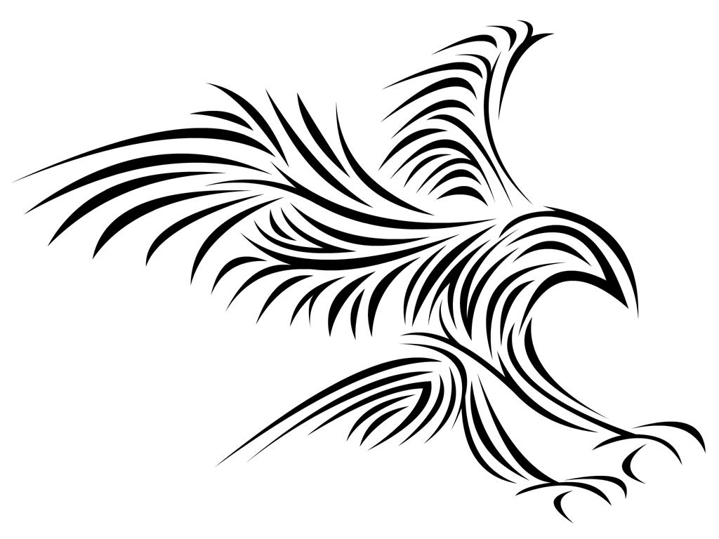 1024x768 Tribal Bird By Nimja