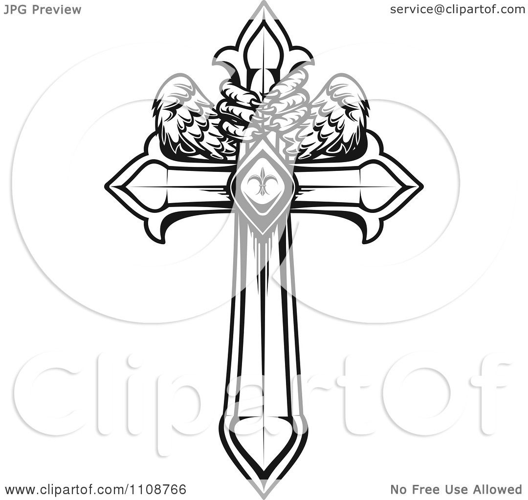 1080x1024 Clipart Black And White Heraldic Cross With Talons And Wings