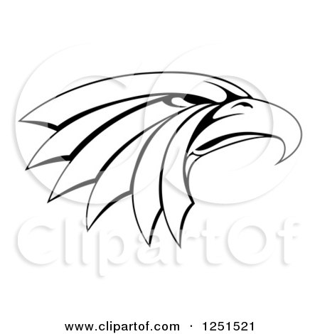 450x470 Clipart Of Black And White Reaching Eagle Talons