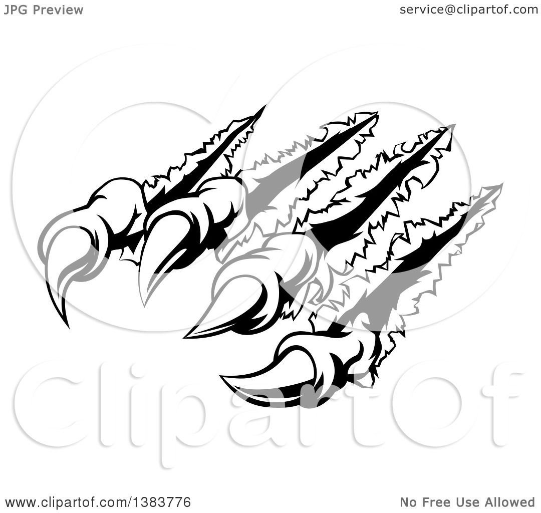 1080x1024 Clipart Of A Black And White Sharp Scary Claws Shredding Through