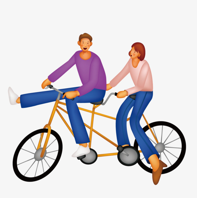 650x651 Couple Riding A Tandem Bicycle, Vector, Bicycle, Double Png
