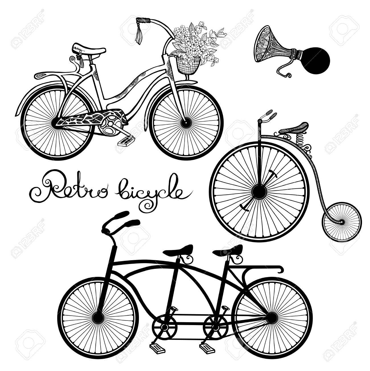 1299x1300 Retro Style Mono And Tandem Bicycles Hand Drawn Set Isolated