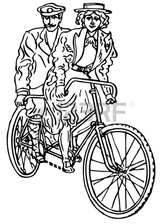 326x450 Retro Tandem Bicycle On White Background Royalty Free Cliparts