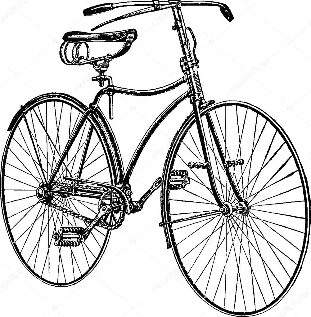 1002x1023 Vintage Drawing Bicycle Stock Photo
