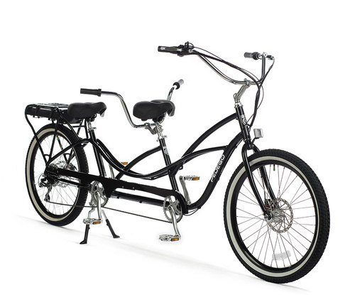 500x415 Pedego Tandem Electric Tandem Bike 48v 15ah Black Frame Brown