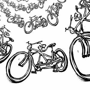 300x300 Tandem Bicycle Drawings Fine Art America