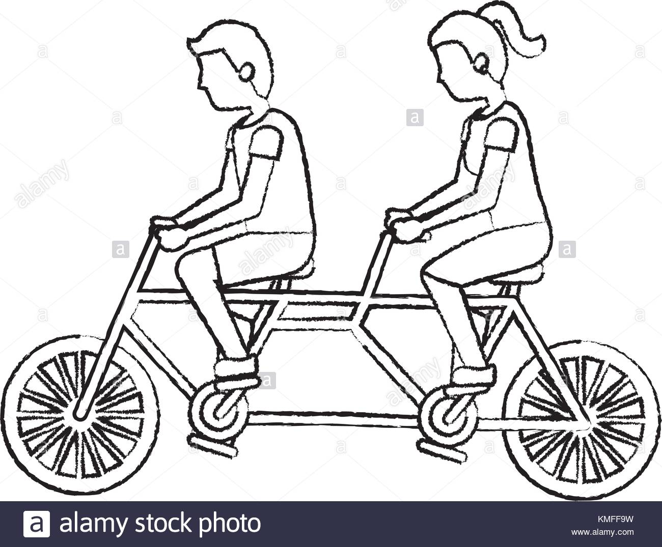 1300x1075 Tandem Bicycle Stock Vector Images