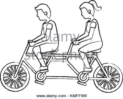 396x320 Couple Riding Bike. Vector Character Isolated Stock Photo