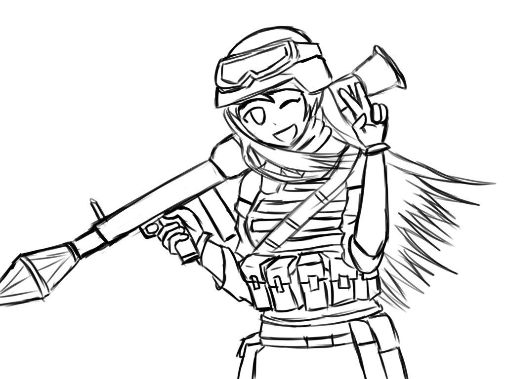 1024x768 Female Anime Anti Tank Soldier(Remake Sketch) By Aditthestig
