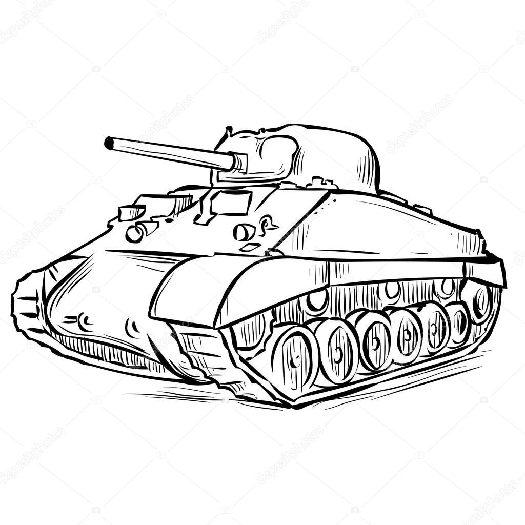 1024x1024 American Sherman Medium Tank Stock Vector Dergriza