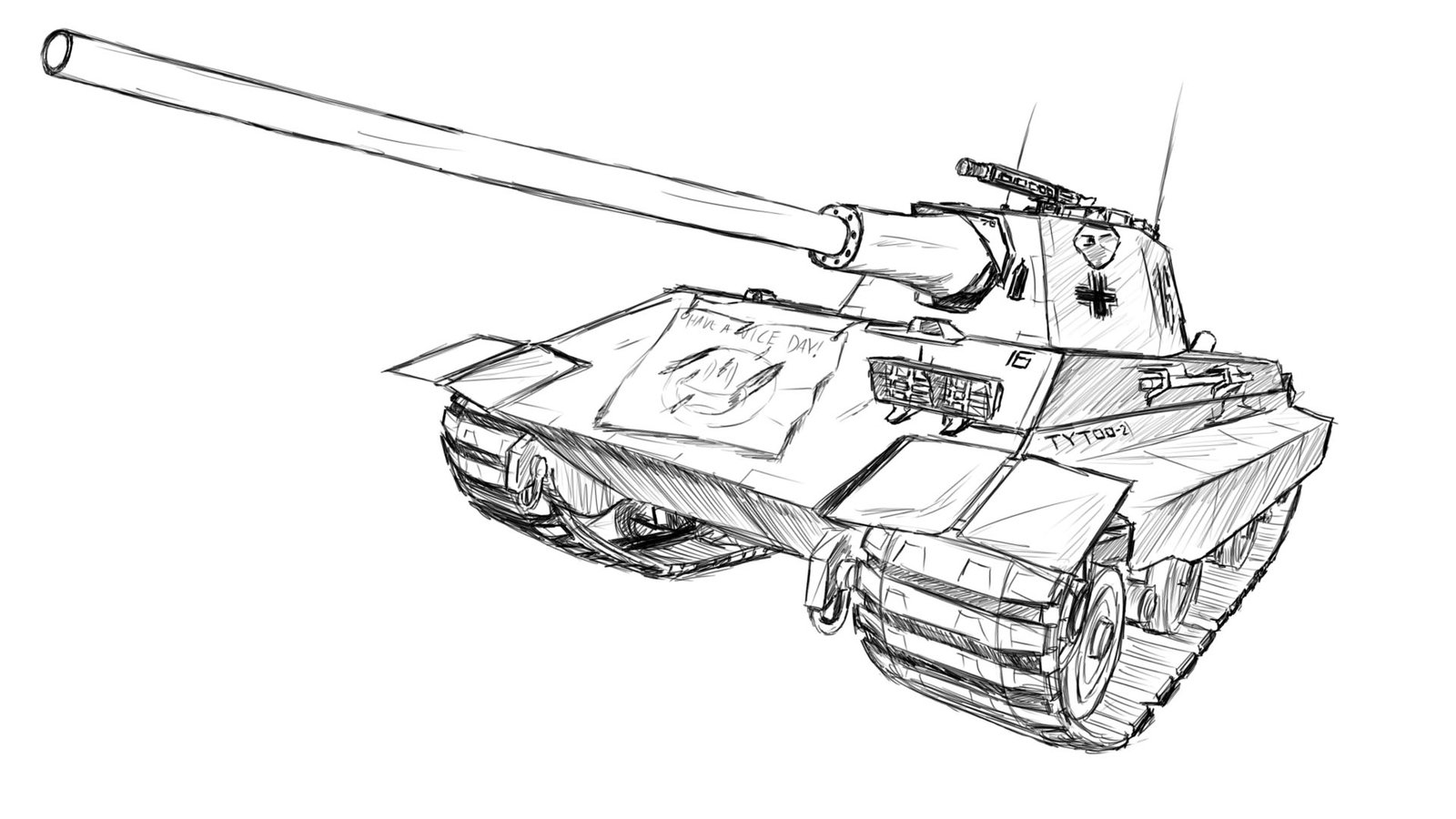 1600x900 Panzerkampfwagen E50 Ausf. M Sketch Drawing By Medessec