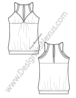 316x409 V15 Knitwear Tank Free Illustrator Fashion Flat Drawing Template