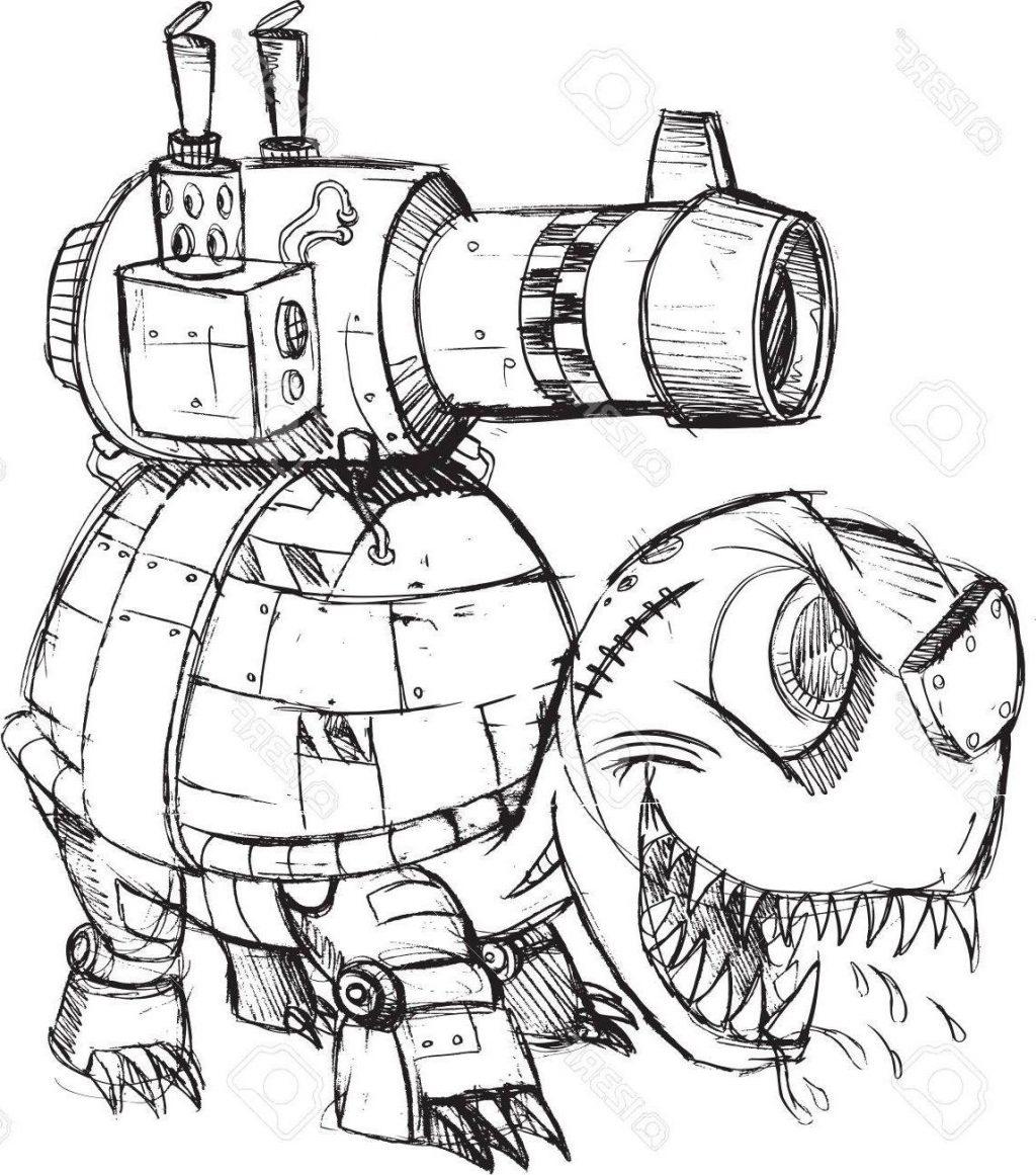 1024x1161 Best War Tank Turtle Sketch Vector Illustration Art Stock Drawing