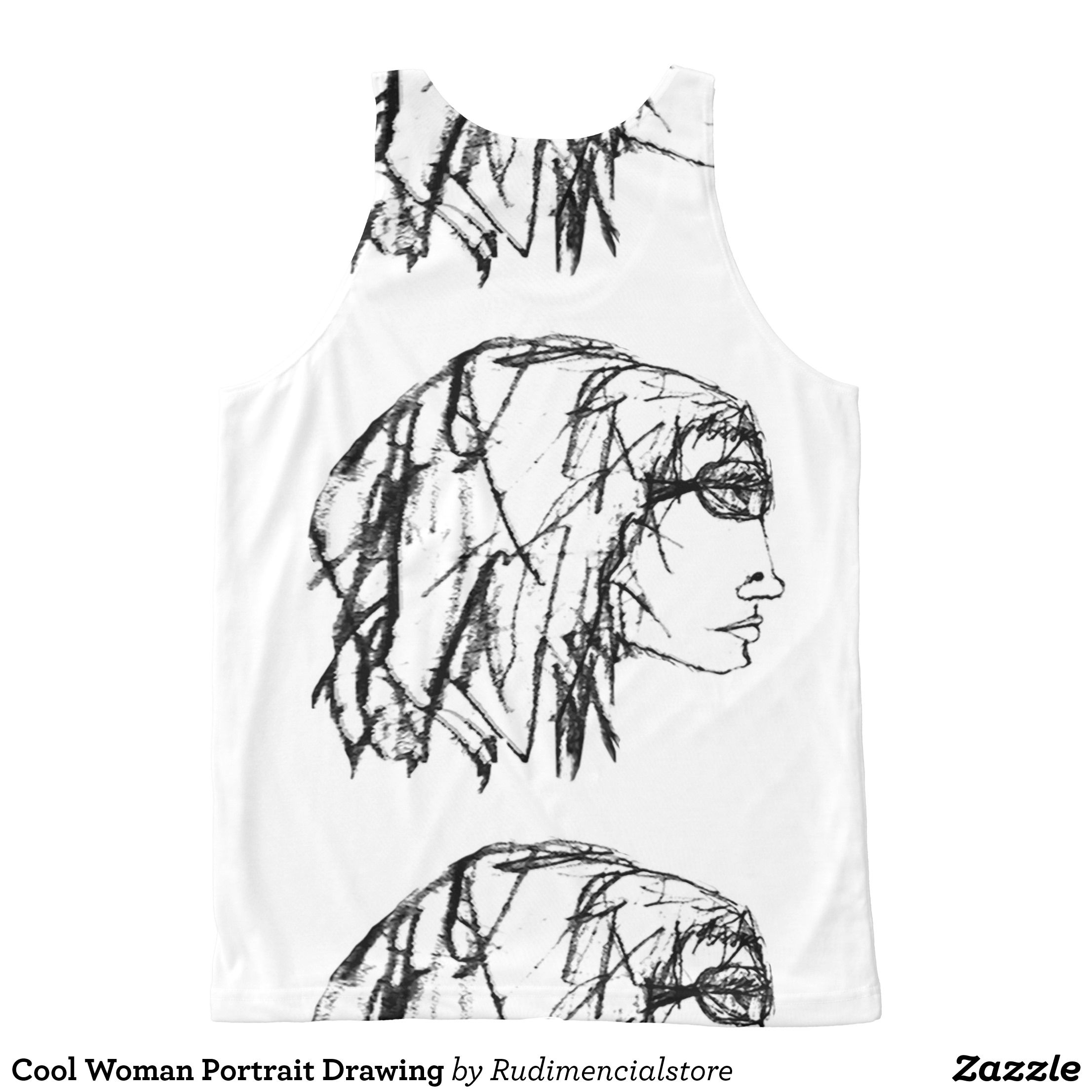 2212x2212 Cool Woman Portrait Drawing All Over Print Tank Top Woman