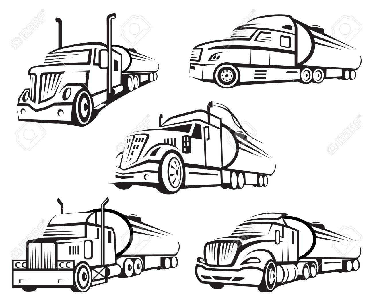1300x1063 Monochrome Set Of Four Tank Truck Royalty Free Cliparts, Vectors
