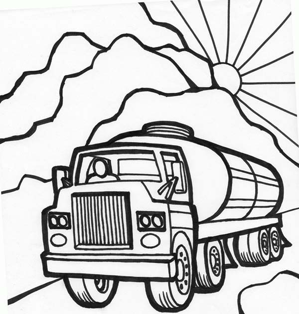 600x630 Trucks, Tanker Truck Starts Working In The Morning Coloring Page