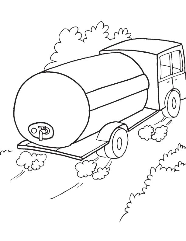 612x792 Water Tank Truck Coloring Page Download Free Water Tank Truck