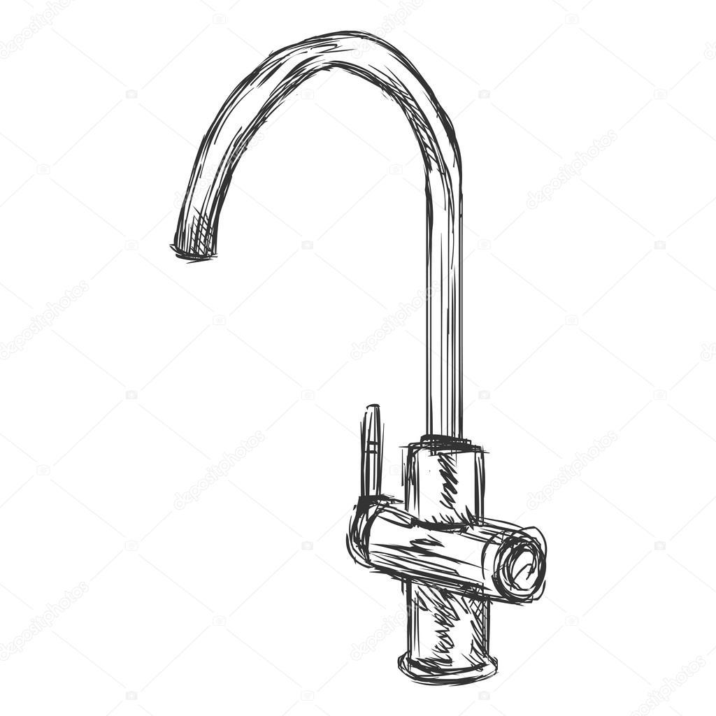 1024x1024 Sketch Kitchen Faucet Stock Vector Nikiteev