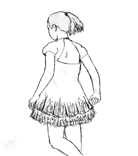 480x543 Tap Dancing Girl Not Colored, Sketch By Bravematryoshka