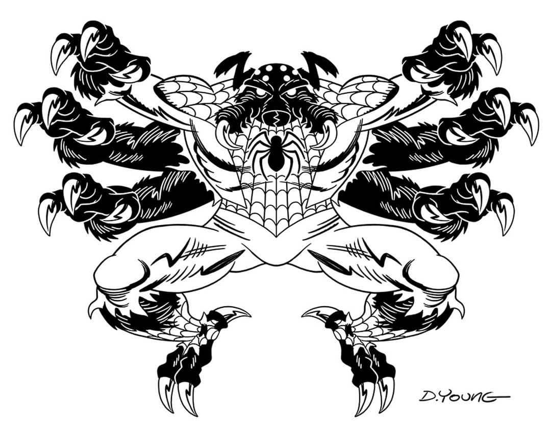 1080x862 Darryl Young Design Spider Man Black And White