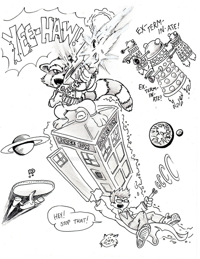 786x1017 Rocket Raccoon Rides Tardis For Target Practice By Gaztv Inc