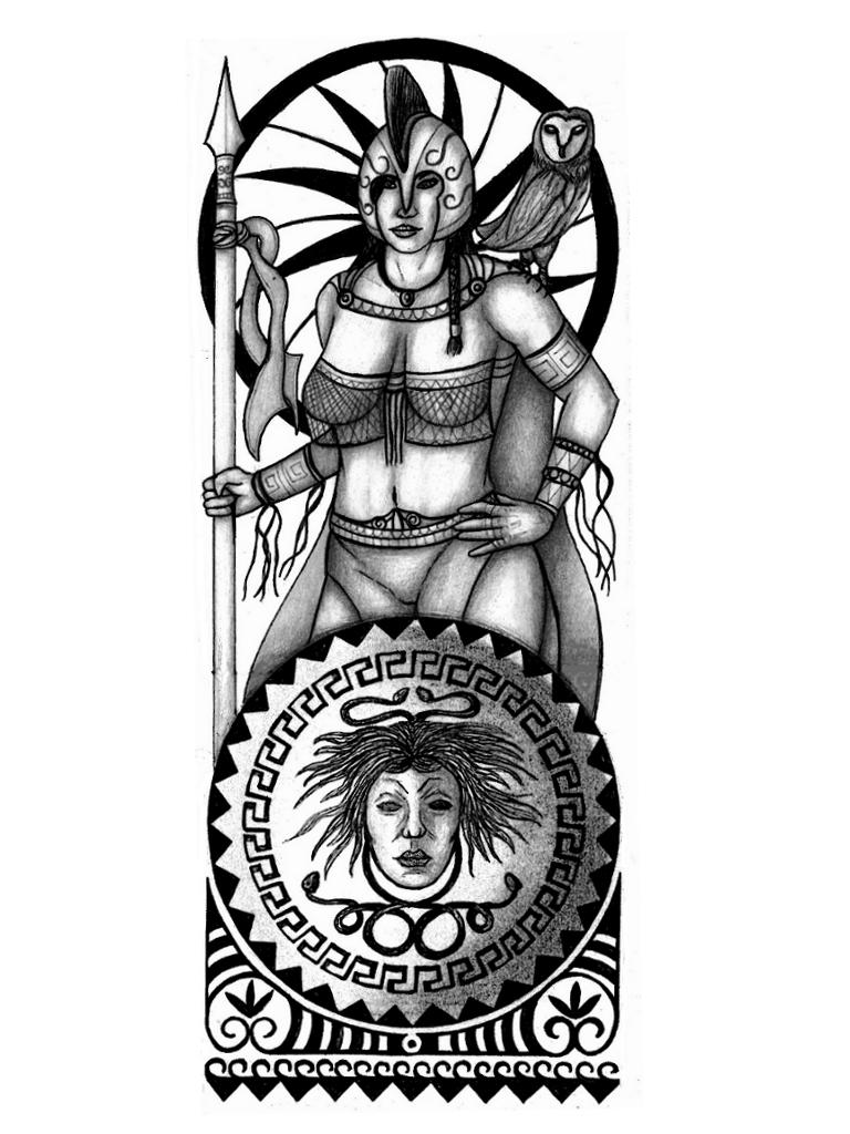 768x1024 Drawn Tattoo Greek Warrior