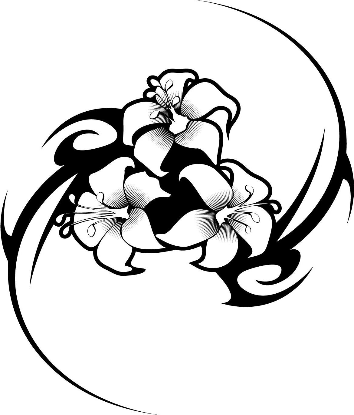 1170x1368 Hawaiian Tribal Flower Tattoos Tattoo Art Coloring Pages, Tribal