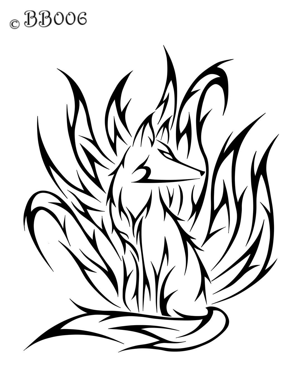 1024x1365 Nine Tailed Fox Drawing Tattoo's For Gt Tribal Nine Tailed Fox