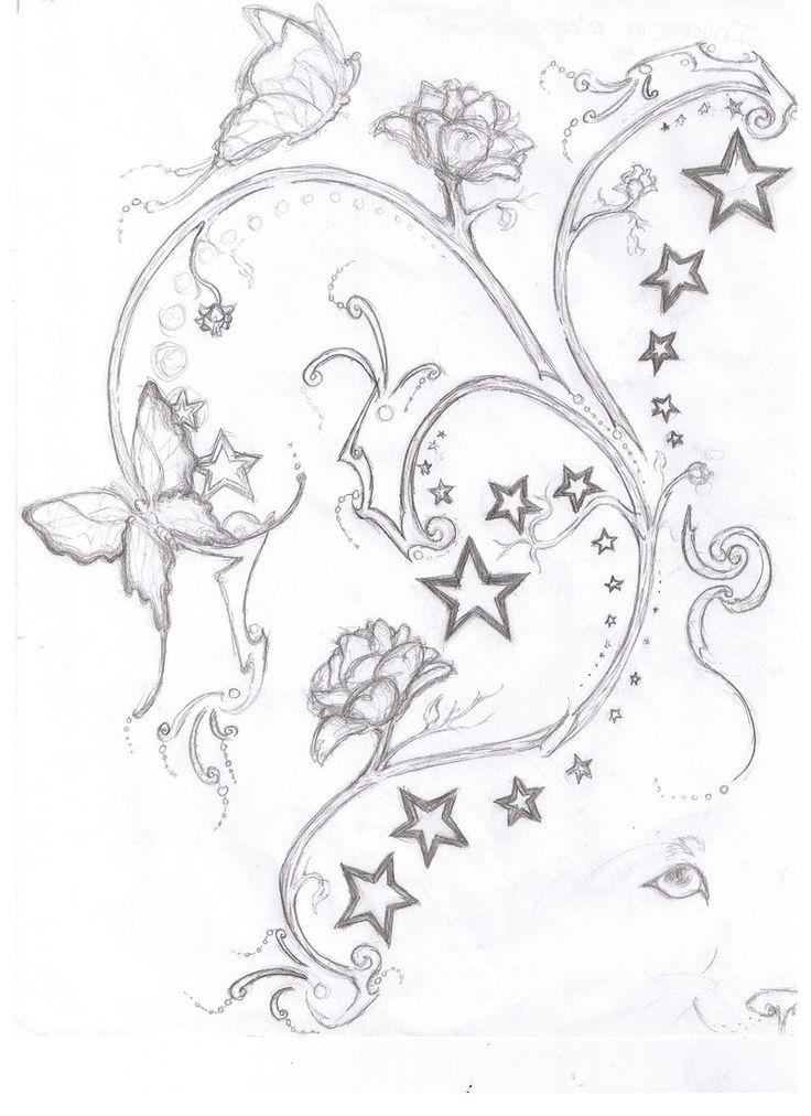 736x1012 Star Flower Tattoo Designs Group