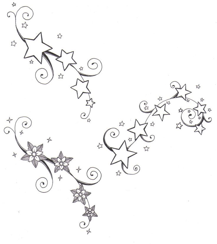 736x827 Stars And Swirls Tattoo Designs Collection