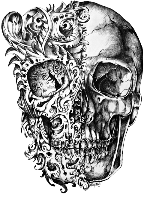 500x655 Cool Skull Tattoo Design Drawing PNG Mart