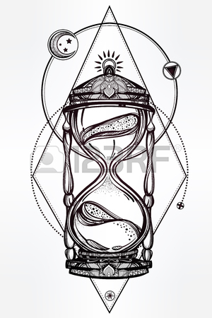 300x450 Hand Drawn Romantic Beautiful Drawing Of A Hourglass With Roses