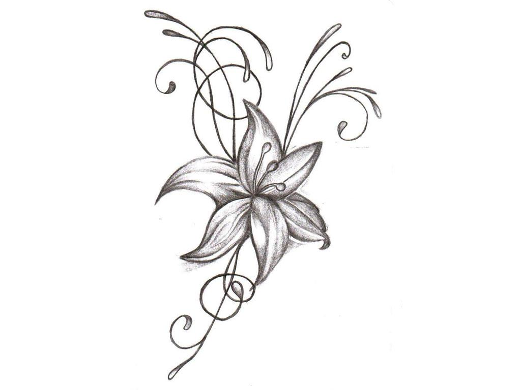1024x768 Cool Flower Designs Easy Draw Tattoo Design