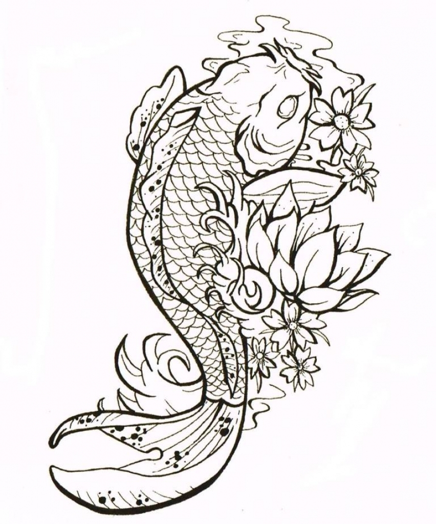 852x1024 Koi Fish Tattoo Drawings