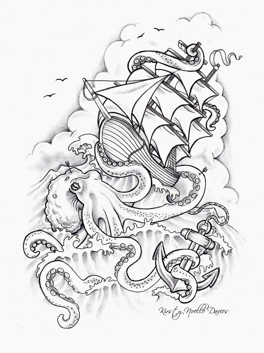 1024x1366 Octopus Sinking Ship Tattoo Design By Kirstynoelledavies
